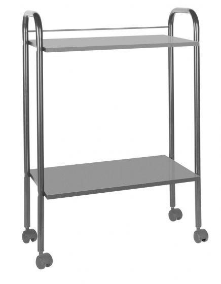 Mesa carrito metal y madera de 2 alturas gris Ecopostural A4484