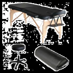 Pack Mediprem Eco Pro Negro: su camilla de masaje plegable en madera Mediprem con taburete y cojín de masaje