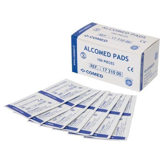 Toallitas de alcohol isopropílico 70% Alcomed caja de 100 unidades